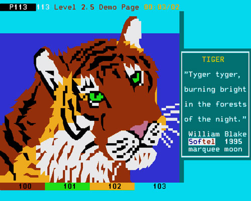 "Level 2.5 demo page ""Tiger"" by Softel"
