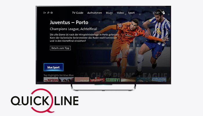 Blue WebApp integrated on the Quickline TV Set-Top Box